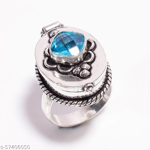 BLUE TOPAZ GEMSTONE VINTAGE STYLE HANDMADE SILVER PLATED POISON BOX RING 8.75 US DR122