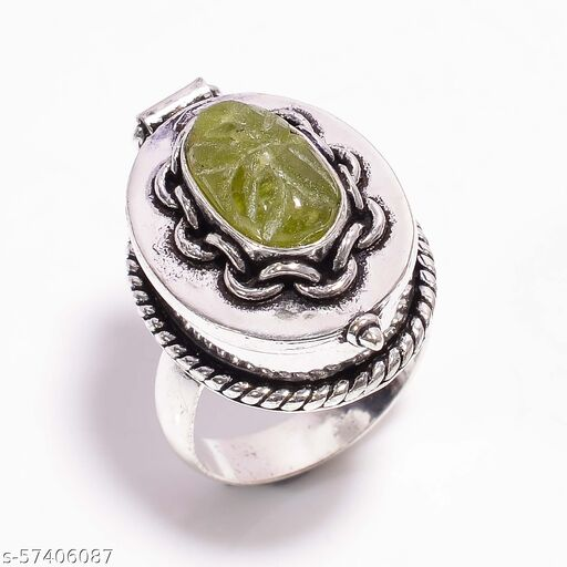 VESONITE GEMSTONE VINTAGE STYLE HANDMADE SILVER PLATED POISON BOX RING 9 US DR-120
