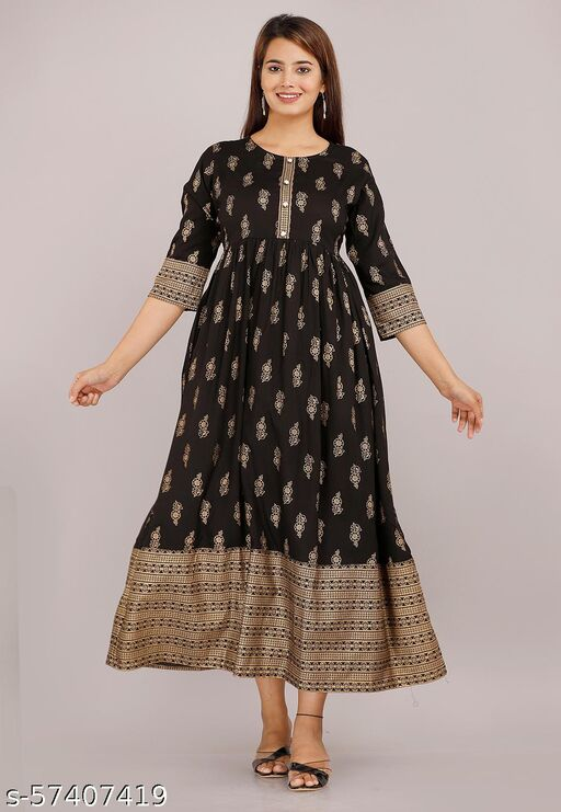 Beautiful Reyon Fabric Black Color Printed Party Wear Gown