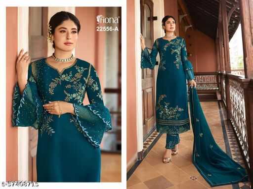 Designer Embroidered Long Straight Suit