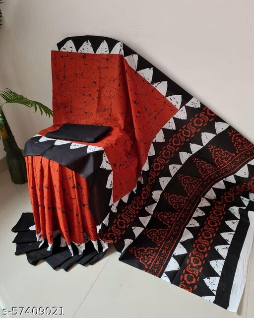 Roanak Garments 'Women's Hand Block Kalamkari Batik Bagru Jaipuri Ikat Printed Handloom Pure Cotton Mulmul Traditional Ethnic Cotton Sarees With Printed Blouse Piece