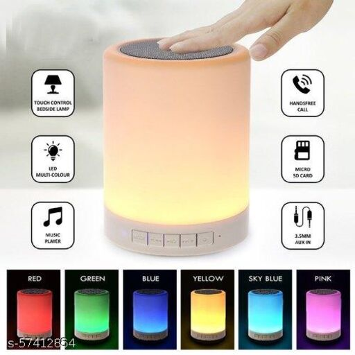 Wireless USB Rechargeable Portable HiFi LED Touch Lamp Bluetooth Speaker Light, with TWS