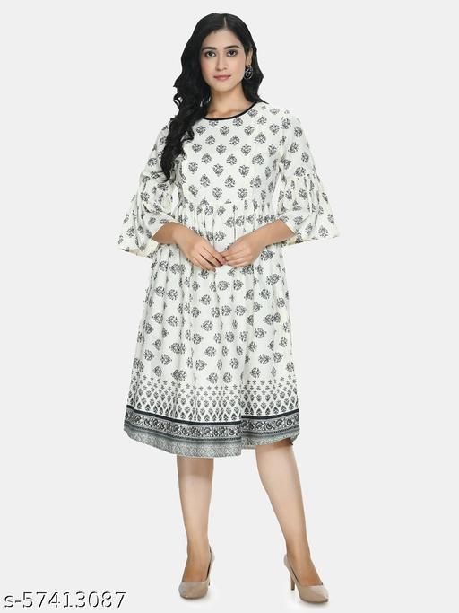 A-Line White Maternity Dress