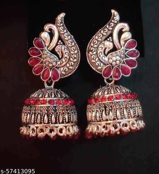 Red jhumki earrings