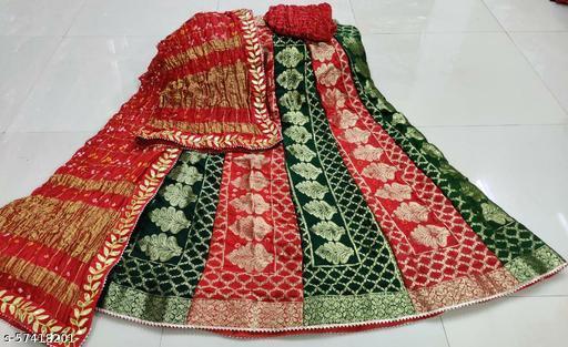 Ashika Fashion Banarsi Garchola Silk Bandhini Brocade Lehenga with Garchola Dupatta and silk Zari Blouse