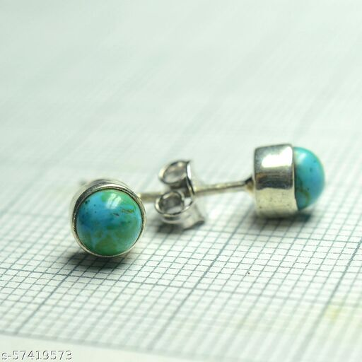 Natural Turquoise Round Gemstone 925 Sterling Silver Women Stud Earrings