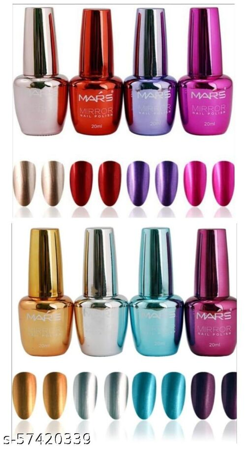 Mars Mirror Finish Glass Nail Paint Bottle Pack Of 8