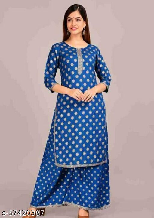 S.K. GEMS Women Gold Printed Premium Straight Kurti with Palazzo in Rayon by Hina Khan (Petrol Blue)