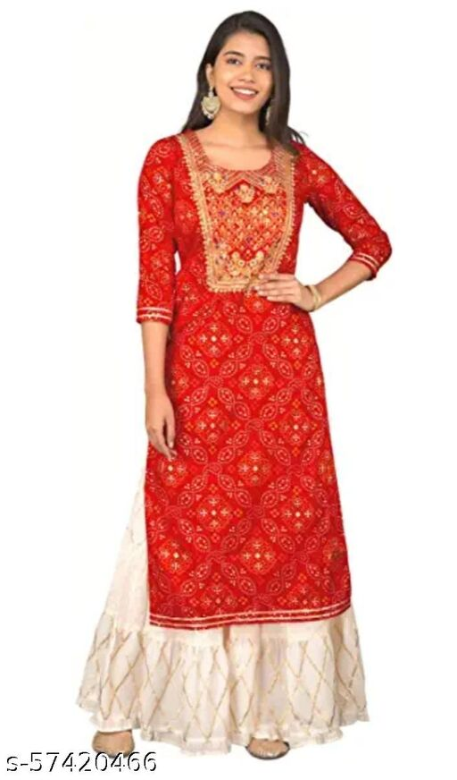 Ali Enterprises Girl's Rayon Red Bandhej with Golden Embroidery Kurta and Gota Work White Skirt  with beautiful prints which is very comfortable completes this ethnic set.