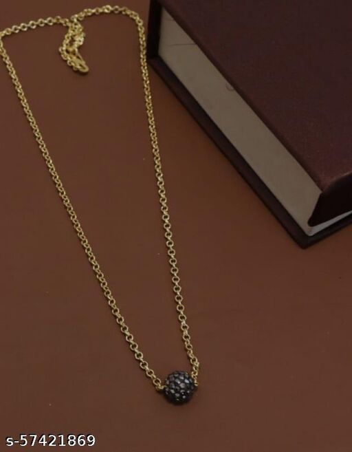 LUBLITY High Recommended Gold Plated Chain With AD Studded Black Pedant Necklace For Women and Girls.
