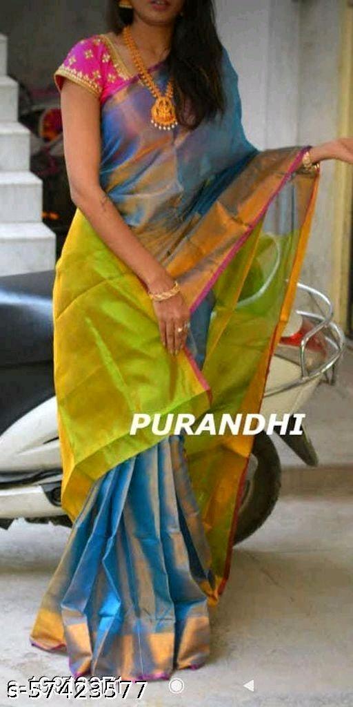 Tissue linen Purandi Saree
