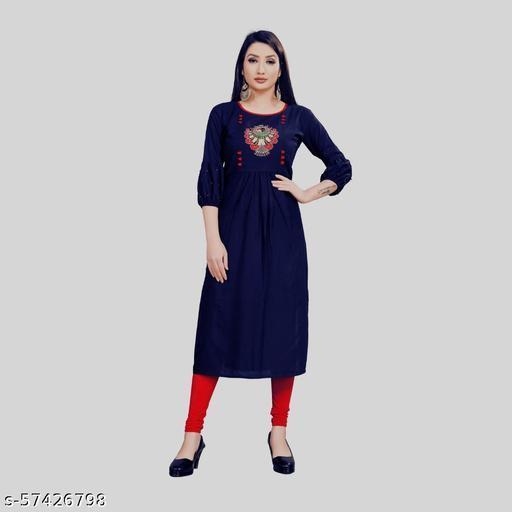 Women Pure Straight Rayon Anarkali Kurti