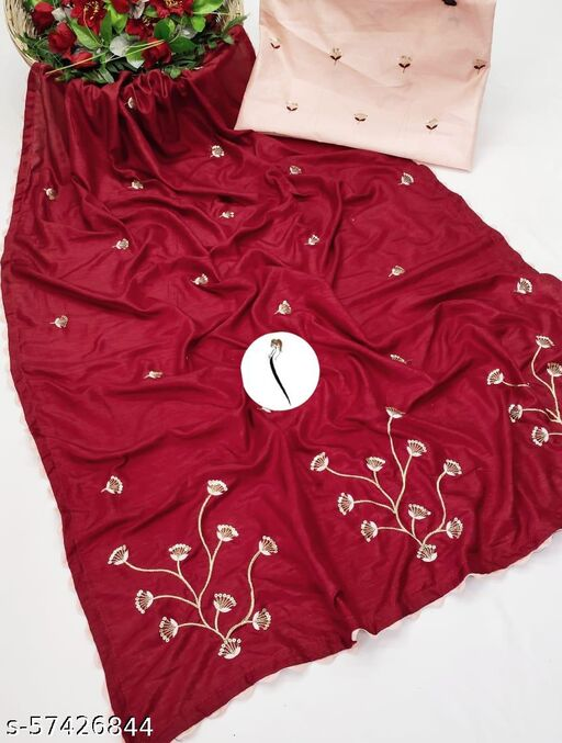 Red Dola Silk Multi Embroidered Saree With Embroidered Un-Stitched Blouse