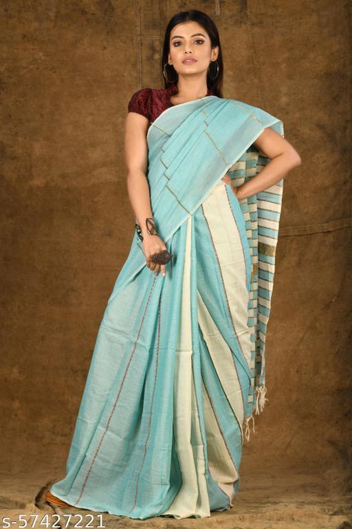 Buymyethnic Pure Cotton Handloom Shantiniketani Khesh Saree for Women with Blouse