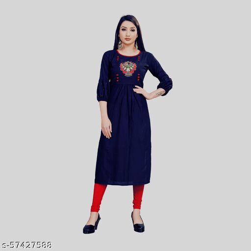 Women solid Pure Rayon Kurti