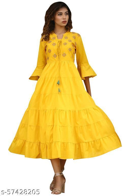 Covet Women Cotton Flared Embroidered Yellow Kurta
