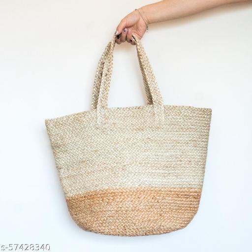 RamanTe International Classic Two Tone Braided Jute Tote Handbag