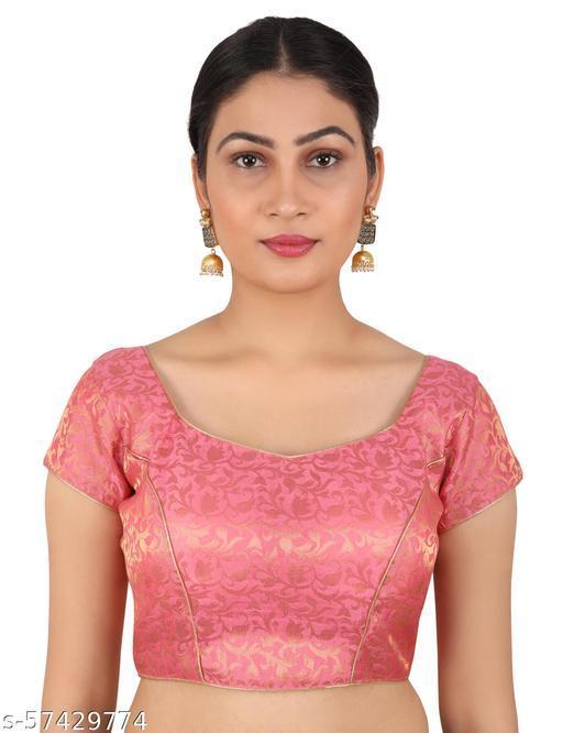FIGURE UP Women Sweetheart Neck Poly Chanderi Blouse