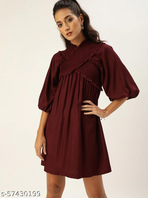 Style Quotient Bold Burgundy Solid Smocked Dress