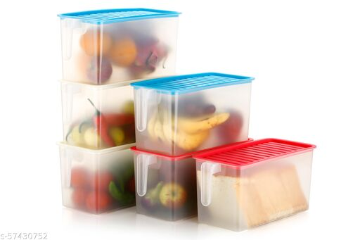 Bansi Creation Square Handle Boxes Refrigerator Fresh-Keeping Storage Stackable Container Food Basket with Lid for Vegetables, Fruits, Meat, and Fish - Airtight Lid Basket 5000 ML (SET OF 3) Jars & Containers