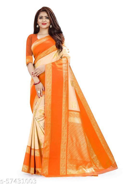 Owexone Woman'S Cream Kanchipuram Silk Saree Enchants With A Striking Confluence Of Gold Zari Multiline Checks And Elegant Dainty Zari Florets.=D_111