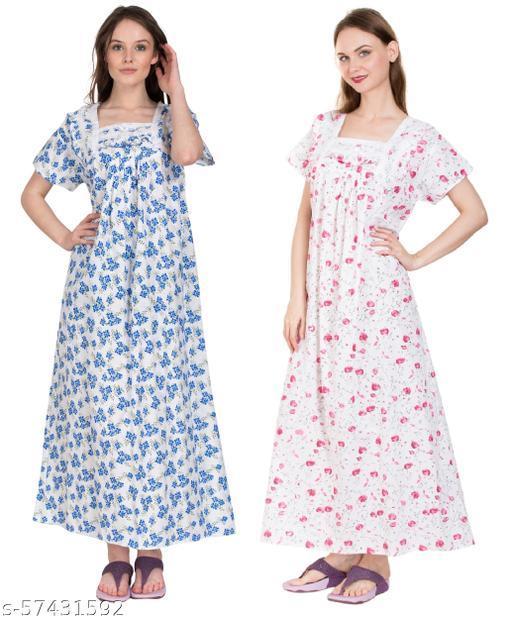 SDGP Women's Cotton Printed Maxi Nightgown Nighty