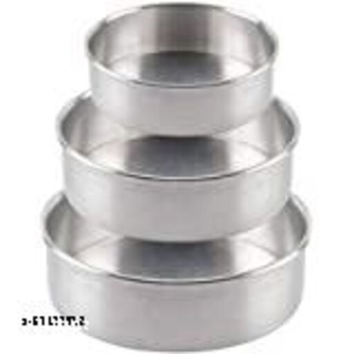 Aluminium Cake Baking Mould Set, Silver Round Shape Cake Mould (Set of 3)cake tins