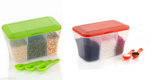 OFFYX Pickle Jar , Pickle Container Set, Spice Box , Spice Set , Dry Fruit Box, Mukhwas container, Mukhwas Box (Green,Red) (Set of 2) - 750 ml