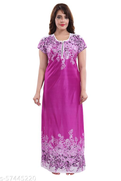 ANNAARSI Premium Satin Fabric Nighty Full Length Maxi
