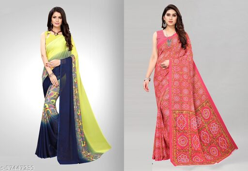 Georgette Printed Daily Wear Pack of 2 Saree