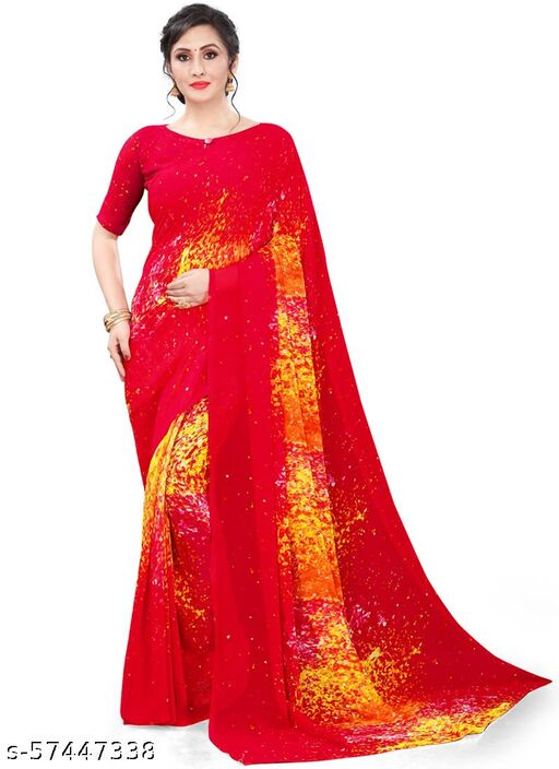 Hritika Georgette Digital Printed Saree With Blouse Piece (Red)
