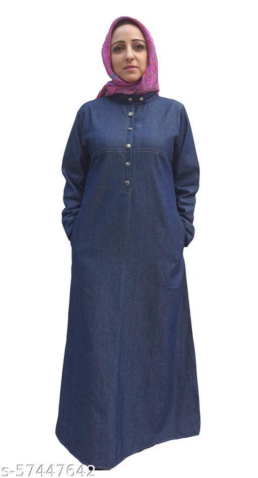 La Kasha women Abaya in Denim, buttoned down mandarin collar.