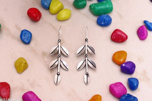 SHREESHYAMTRADERS Artificial Classical Leaves Silver Earring