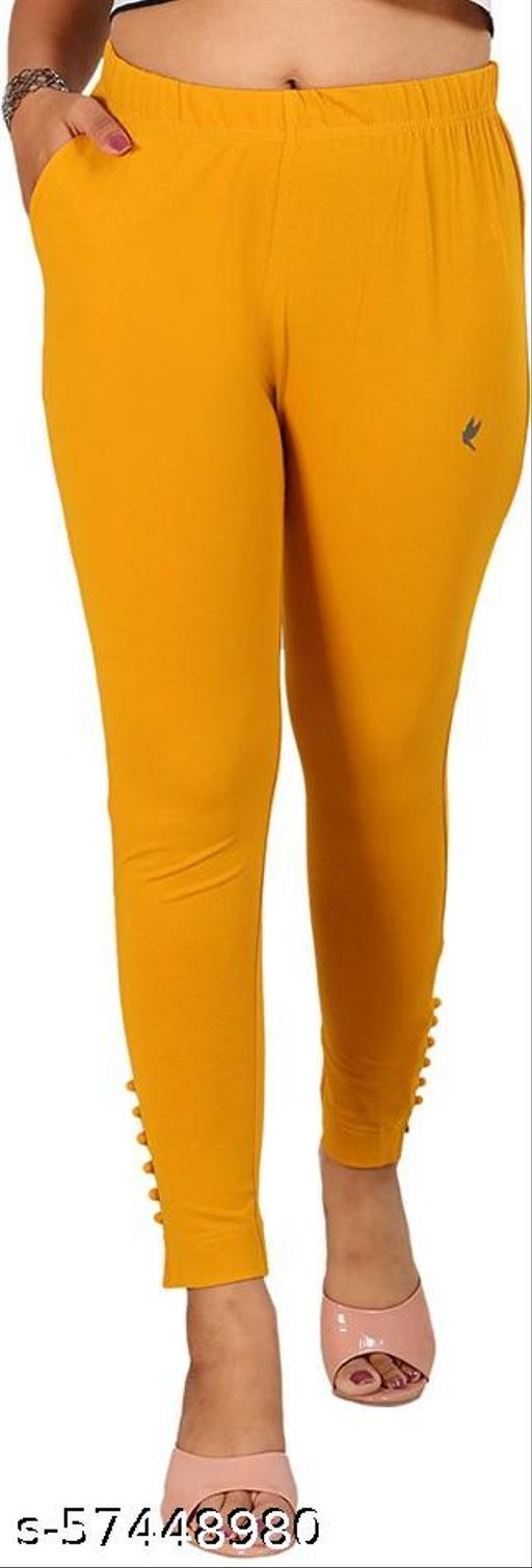 ANVIYA Women Yellow Cotton Blend Boondi Leggings