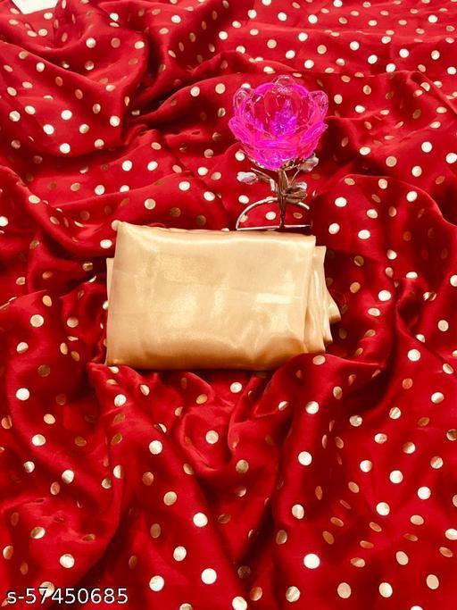 Soft silk satin RED solid saree with banglori satin blouse