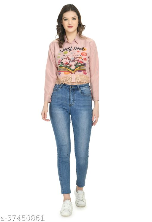 Nayra Women Poly Crepe Regular Stylish Shirt with Full Sleeves for Jeans and Shorts