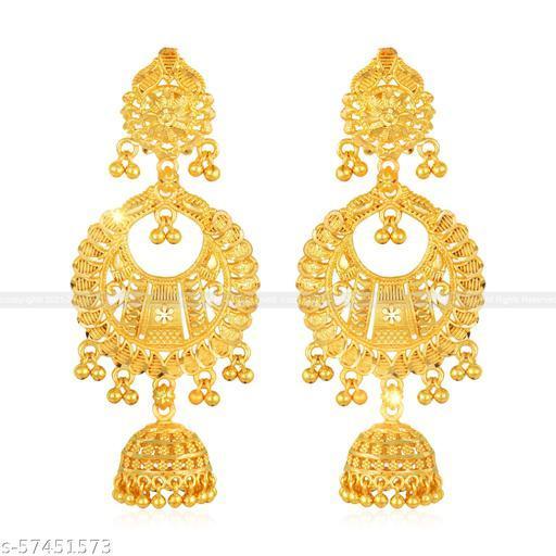 VFJ Allure Beautiful Earrings Diva Fusion Gold Plated for Women and Girls Alloy Drops & Danglers Jhumki Earring