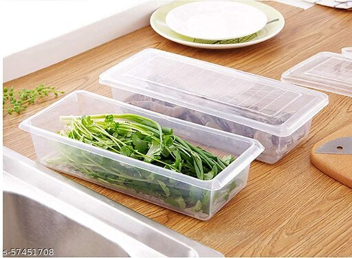 Food Storage Container with Removable Drain Plate and Lid 1500 ml Fridge Storage Box Stackable Plastic Freezer Storage Containers to Keep Fresh for Fish, Meat, Vegetables, Fruits -Pack of 2
