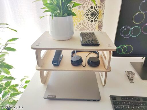 Whittlewud Pack of 2 Dual Monitor Stand Riser. Wooden Desk Organizer. Wood Monitor Riser. Screen Stand for Laptop or Computer. Desktop Organizer. ( 35 x 24 x11 cm)  Racks & holders