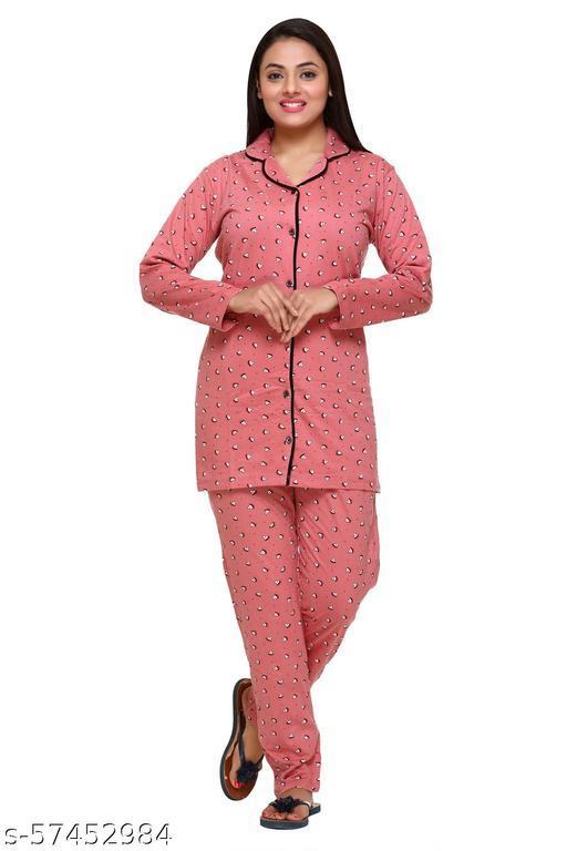 CUPID Full Sleeves Cotton Printed Night Suit Set