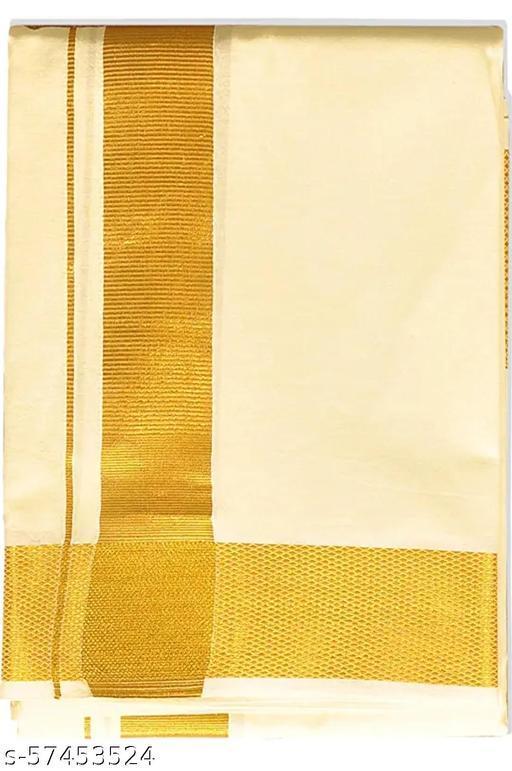 100% Cotton sandle Classic Dhoti With Golden Jari Border For Men's, Size-2 meters (Dhotis)