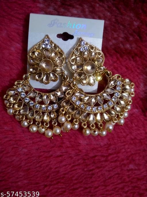 american diamond beads earrings jhala