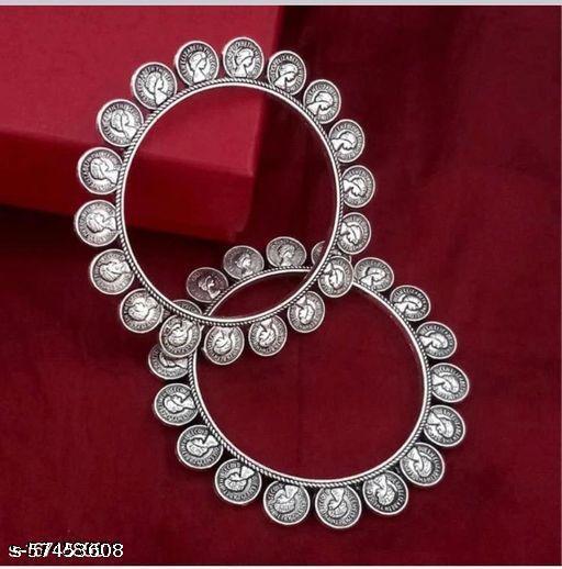 German Silver Kolhapuri Bangle set of 2 piece for Women & Girls - Coin (2.6)