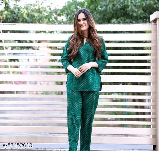 Women Rayon Sleepwear Green Top With Pyjams