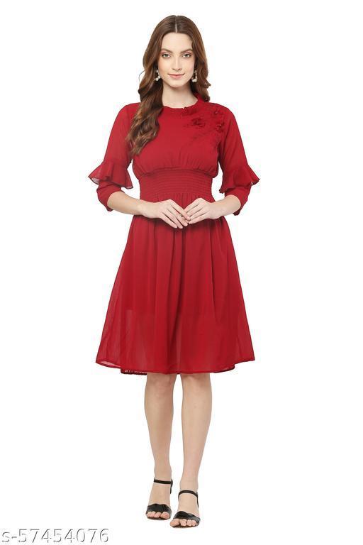 Star Mango flower Design Maroon Color midi dress For Women