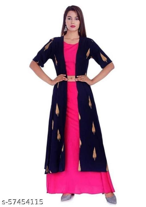 Women Rayon Crop Top Skirt With Shrug