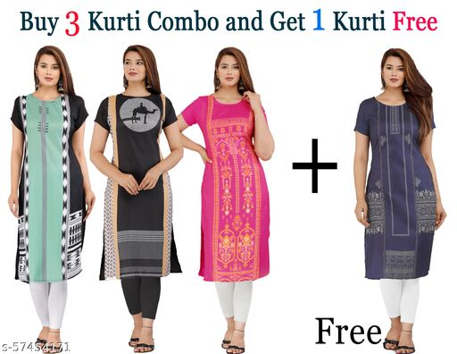 Latest lowest Price Designer Degital Printed Crepe Fabric Kurtis With Combo Collacation for Girl's and Women's