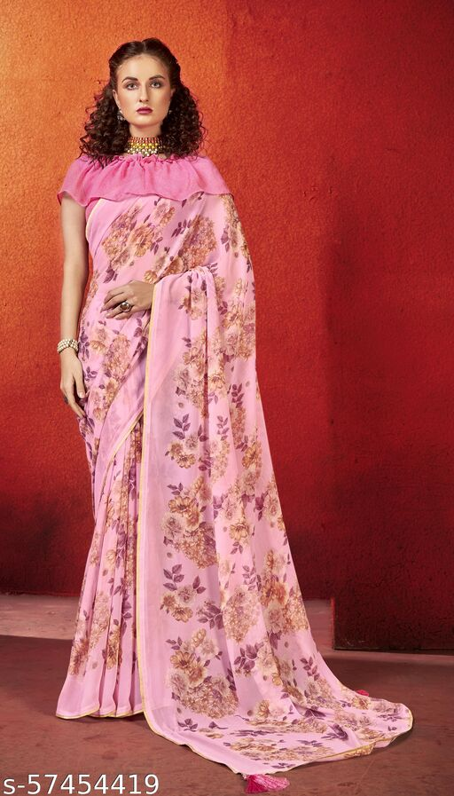 TRIVENI SAREES Georgette Lace Pink Colour - VPFLRZ12328
