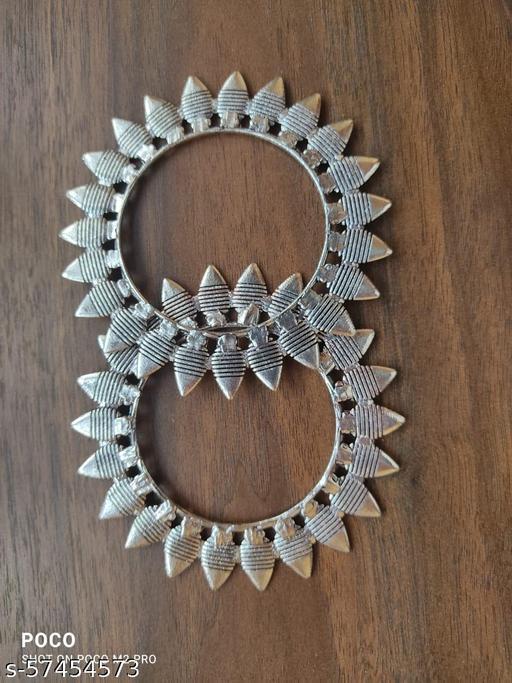 German Silver Kolhapuri Bangle set of 2 piece for Women & Girls - Leaf (2.6)