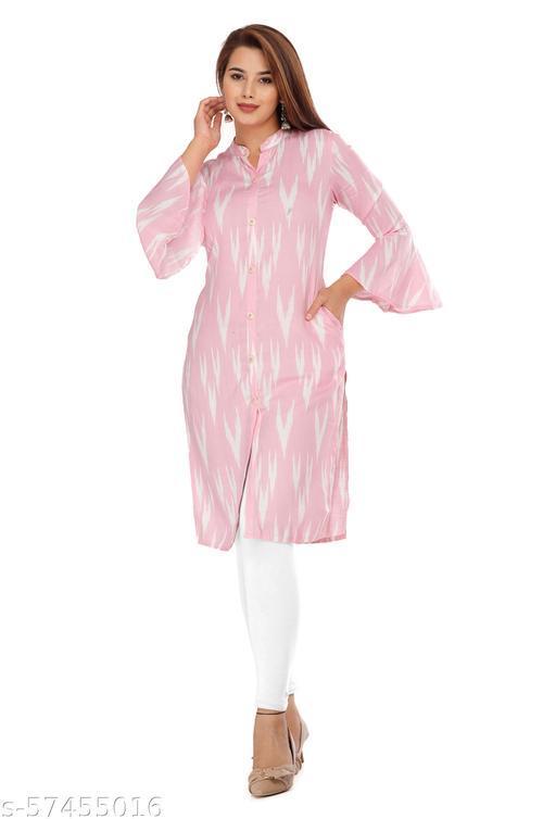 GULMODEL Disegner Printed Pink and White Short kurti